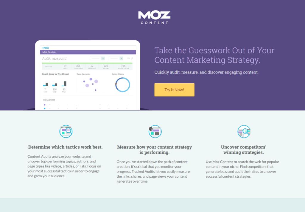 Landing page di Moz